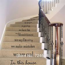 vinyl stair decals in this house we do quote decals for staircase