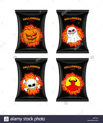 set chips for halloween terrible food for holiday snacks with