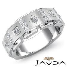 wedding band manufacturers 9 5mm men channel bezel set princess diamond half wedding band