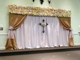 Burlap Window Valance Backdrop For Church Ceremony Burlap And Pink Curtains With