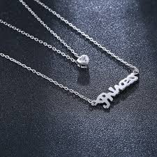 sterling silver wedding necklace images Sa silverage 925 sterling silver letter necklace for women wedding jpg