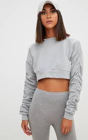 grey ruched sleeve oversized cropped sweater tops prettylittlething