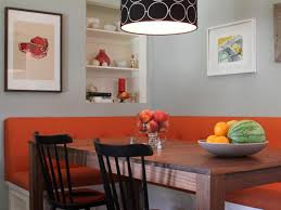 furniture bright orange bench nook table added with black wooden
