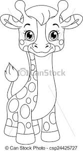 vector illustration giraffe coloring illustration