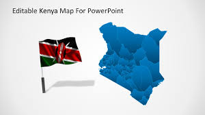 Flag Of Kenya Editable Kenya Powerpoint Map
