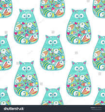 vector seamless pattern hand drawn cat stock vector 431724562