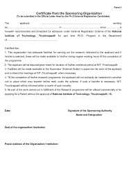 no objection certificate india format ph d july 2014