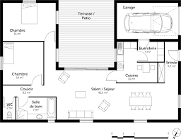 plan plain pied 2 chambres formidable plan maison plain pied en u 13 plan maison en u avec 2