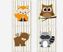 Raccoon Nursery Decor Woodland Boy Nursery Wall Fox Owl Raccoon