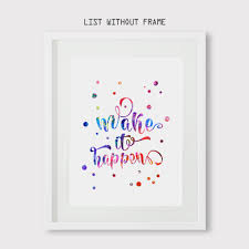 make it happen watercolor art print quote wall hanging home decor