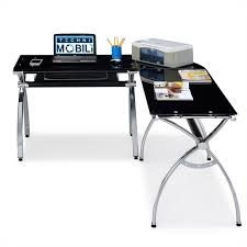L Shaped Black Glass Desk Techni Mobili L Shaped Glass Desk With Chrome Frame In Black Rta