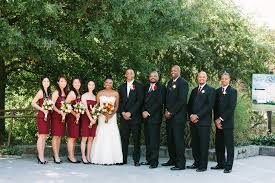 wedding party attire black and burgundy wedding party attire