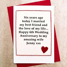 happy anniversary cards personalised 6th wedding anniversary card by arnott cards