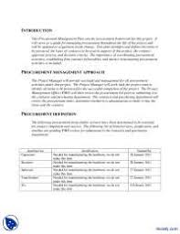 procurement management plan example engineering project management