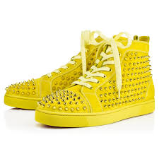 christian louboutin louis spikes men u0027s flat in yellow for men lyst