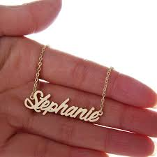 Personalized 14k Gold Name Necklace Amazon Com Aolo Unique Personalized Name Necklace Vintage