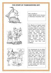 worksheet the story of thanksgiving day