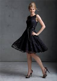 line scoop knee length black lace prom dress with sash