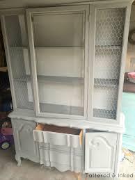 tattered and inked weathered grey u0026 white china cabinet redo