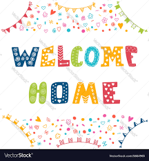 Home Design Elements Welcome Home Text With Colorful Design Elements Vector Image