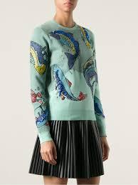 fish sweater lyst kenzo fish sweater in blue