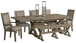 foundry extendable saw buck dining table from kincaid 59 056