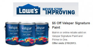 lowe u0027s 5 off valspar signature paint rebate