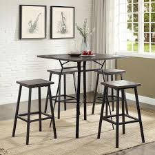 Pub Table Set Acme Furniture Dora 5 Piece Weathered Dark Oak And Black Bar Table
