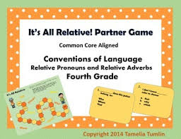 relative pronouns and relative adverbs partner game 4th grade