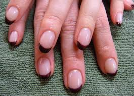 acrylic extension with gel color french manicure in a custom mix