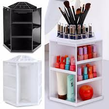 Rotating Desk Organizer by 360 Degree Rotating Plastic Cosmetic Storage Makeup Organizer