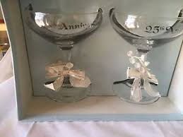 anniversary engraving 25th silver anniversary glasses toast glasses white bows ribbon