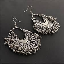 chandbali earrings zephyrr fashion oxidized ethnic silver beaded chandbali earrings