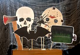 horror halloween printable photo booth props paper and cake
