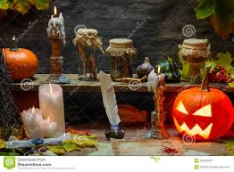 halloween scrolls background pumpkin old scrolls and candles in witch u0027s cottage stock images