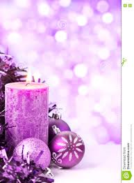 purple with baubles and candles stock photo