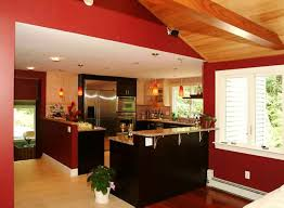 red wall accent for modern kitchen colour combinations using