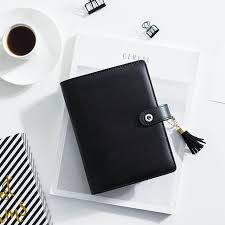 black leather scrapbook dokibook a5a6 black leather cover notebook and journals personal