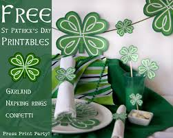free st patrick u0027s day shamrock party printables press print party