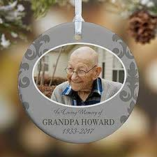 personalized photo memorial ornament for him in loving memory
