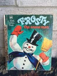 vintage frosty snowman album cover smile