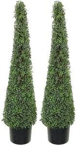two 4 foot artificial cedar cypress cone tower topiary trees