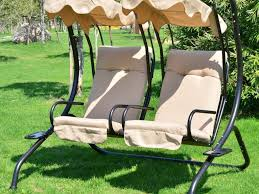 patio 64 lovely 2 person patio swing with canopy navy cream