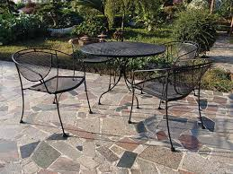Wrought Iron Patio Tables Backyard Creations Wrought Iron 5 Dining Patio Set At Menards
