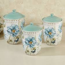 Large Kitchen Canisters Cute Small Corner Kitchen With Blue And White Themed Vintage Color