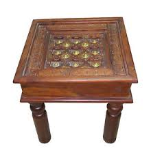 sheesham wood solid square table with brass fitted - Sheesham Wood Solid Square Table With Brass Fitted