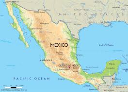 North America Physical Map Road Map Of Mexico And Mexican Road Maps