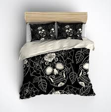 black and cream sugar skull rose duvet bedding sets sugar skulls