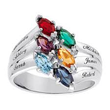s day birthstone rings sterling silver family marquise birthstone name ring 17658