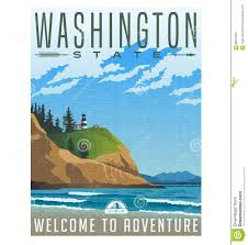 Washington how to travel for free images Washington state travel poster of rugged shoreline and lighthouse jpg